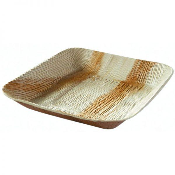 Carton de 100 Assiettes feuille de palmier 17x17cm