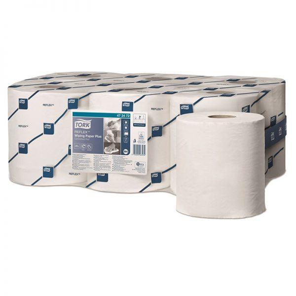 Carton de 6 Bobines d'essuyage dévidage central 2 plis lisse blanc 450 formats Reflex
