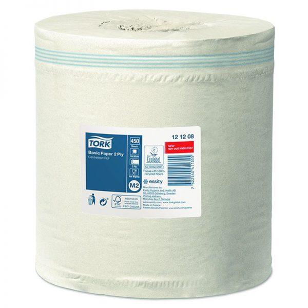 Carton de 6 Bobines d'essuyage dévidage central 2 plis lisse blanc 450 formats M2