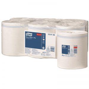 Carton de 6 Bobines d'essuyage dévidage central 1 pli lisse blanc 850 formats M2