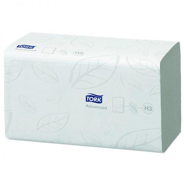 Carton de 3750 Essuie mains enchevêtré 2 plis 25x23cm pliage en V H3