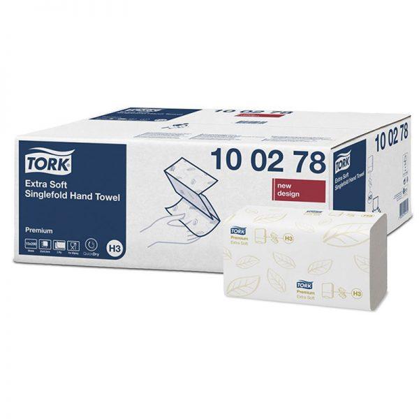 Carton de 3000 Essuie mains enchevêtré 2 plis 23x23cm pliage en V H3