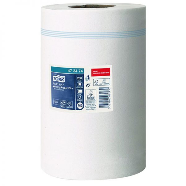 Carton de 9 Bobines d'essuyage dévidage central 2 plis blanc 200 formats Reflex M3
