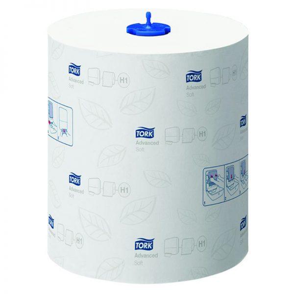 Carton de 6 Rouleaux d'essuie mains 2 plis blanc doux 21cmx150m H1