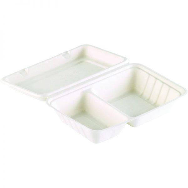 Carton de 250 Boites repas bagasse blanc 2 compartiments 24,1x16,3x6,5cm