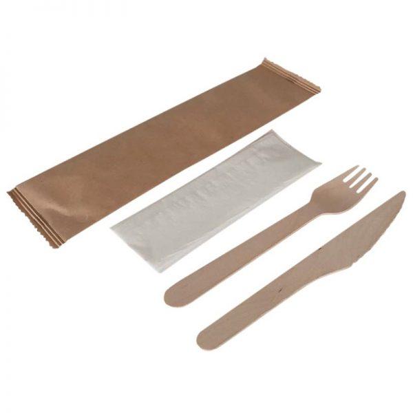 Carton de 250 Kits couverts bois 3/1