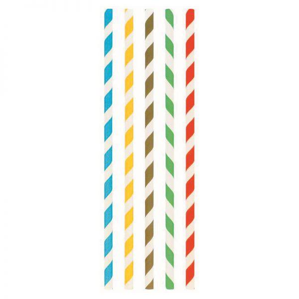 Carton de 6000 Pailles droites papier 20cm Dia. 6mm rayée couleurs assorties