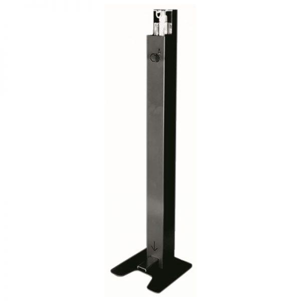 Station désinfection colonne à pédale noire pour flacon de 500ml et 1l