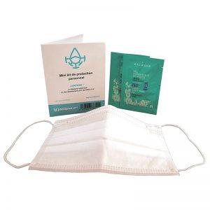 Carton de 120 Kits protection COVID 1 masque EN 14683 + 2 doses 2ml gel hydroalcoolique