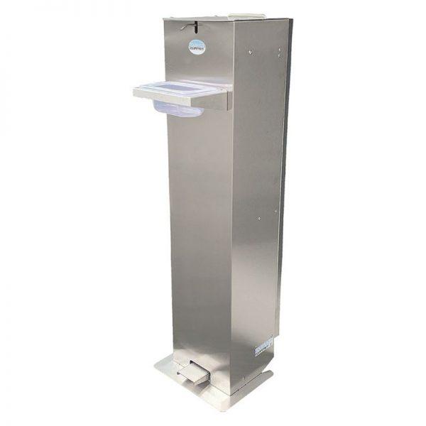 Station de désinfection inox sur roues pour gel hydroalcoolique